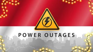 Power outage, yellow warning sign on the background of the flag of Indonesia with the silhouette of the city on the background vector