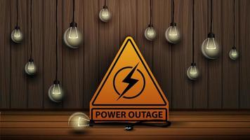Power outage, yellow warning logo on the background of wooden wall and dull light bulbs vector