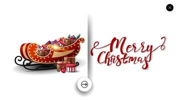 Merry Christmas white greeting postcard in minimalistic style for website with Santa Sleigh with presents vector