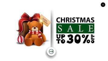 Christmas sale, up to 30 off, white discount banner in minimalistic style for website with present with Teddy bear