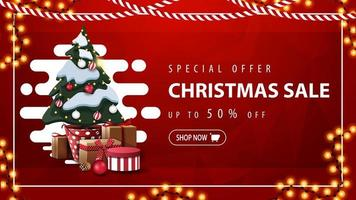 Special offer, Christmas sale, up to 50 off, red discount banner with abstract liquid shape, garland and Christmas tree in a pot with gifts