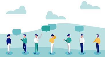 hombres con burbujas de discurso distanciamiento social vector