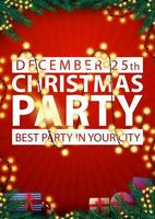 Christmas party, best party in your city, poster with red background, frame of Christmas tree branches, garlands and presents