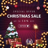 Special offer, Christmas sale, up to 50 off, square purple discount banner with garlands and Christmas tree in a pot with gifts vector