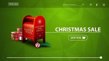 Christmas sale, green discount banner for website with polygonal texture and Santa letterbox with presents vector