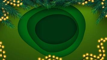 Christmas green background in paper cut style with big hole in the middle vector