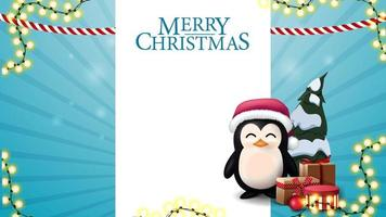 Christmas blue blank template for postcard or discount with white stripe for text, penguin in Santa Claus hat with presents and Christmas tree