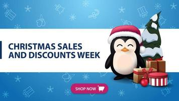 Christmas sales and discounts week, blue banner with horizontal white line, purple button, Christmas pattern and penguin in Santa Claus hat with presents vector