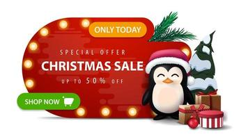 Only today, special offer, Christmas sale, up to 50 off, red abstract shape discount banner with bulb lights, green button and penguin in Santa Claus hat with presents isolated on white background