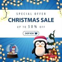 Special offer, Christmas sale, up to 50 off, square blue discount banner with garland, snow globe, penguin in Santa Claus hat with presents and Christmas tree vector