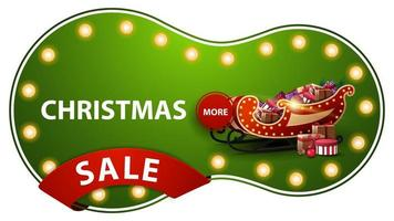 Christmas sale, green discount banner with light bulbs, red ribbon and Santa Sleigh with presents