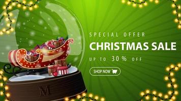 Special offer, Christmas sale, up to 30 off, green discount banner with large snow globe with Santa Sleigh with presents inside vector