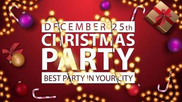 Christmas party, best party in your city, horizontal poster with red background, white title sign wrapped garland and presents, top view