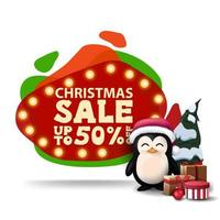 Christmas sale, up to 50 off, modern red discount banner in lava lamp style with bulb lights and penguin in Santa Claus hat with presents