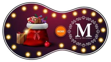 Merry Christmas, purple discount banner with light bulbs, openwork greeting logo and Santa Claus bag with presents