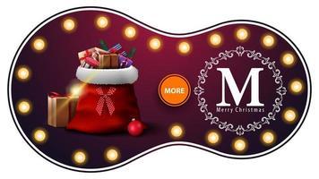 feliz navidad, banner de descuento morado con bombillas, logo de saludo calado y bolsa de santa claus con regalos