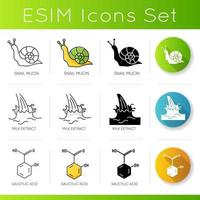 Cosmetic ingredient icons set. Snail mucin. Milk extract. Salicylic acid. Chemical formula.