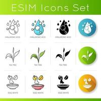 Cosmetic ingredient icons set. Hyaluronic acid. Tea tree. Egg whites.