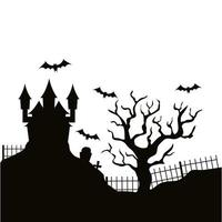 silhouette of haunted castle halloween