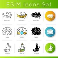 Cosmetic ingredient icons set. Bird nest. Pearl in seashell. Olive oil.