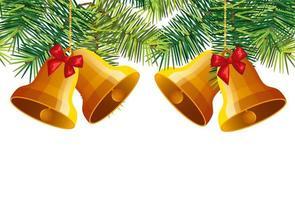 campanas de navidad colgando con hojas tropicales decorativas vector