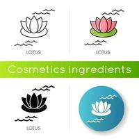 Lotus icon. Blooming lily flower. Yoga sign. Meditation and zen. Cosmetic ingredient to heal acne.