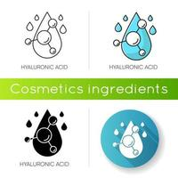Hyaluronic acid icon. Hydrating chemical formula. Collagen to prevent wrinkles. Anti-aging effect.