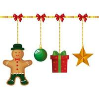 ginger cookie hanging with decoration christmas vector