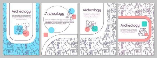 Archeology brochure template. Paleontology and history. Flyer, booklet, leaflet print, cover design with linear icons. vector