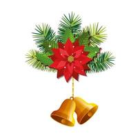 flower with bells christmas hanging isolated icon vector