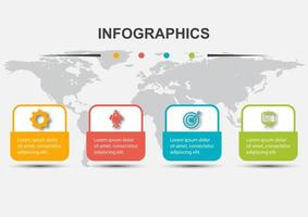 Infographic design template with 4 rounded rectangles vector