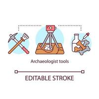 Archeologist tools concept icon. Archaeological expedition. Excavation and laboratory analysis. vector