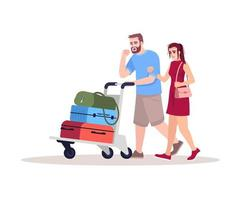 Sick passengers semi flat RGB color vector illustration. Sick man cough. Ill couple with baggage. Virus spread in public transit. Airport terminal isolated cartoon characters on white background