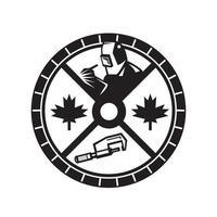 Soldador canadiense pinza círculo hoja de arce vector