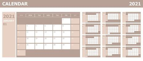 Calendar 2021 week start Sunday corporate design planner template vector