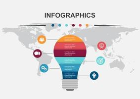 Light bulb infographic design template vector