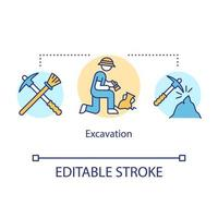 Excavation concept icon. Archeological researching. Treasure hunting. vector
