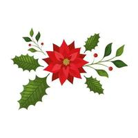 leafs with flower christmas isolated icon vector