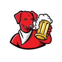 Red English Lab Dog Beer Mug Mascot vector