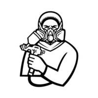 Pintor industrial con pistola de pintura en aerosol