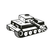 World War Two German Panzer Tank Retro Black and White vector