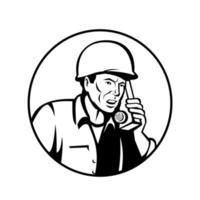 World War Two American Soldier Talking Walkie-Talkie vector