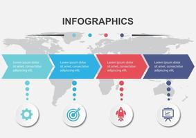 Infographic design template with 4 arrows vector