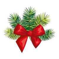 lazo de navidad con decoración de hojas vector