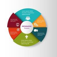 Plantilla de diseño circular infográfico con 6 pasos. vector