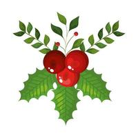 leafs with seeds decoration christmas isolated icon vector
