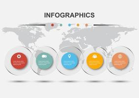 Infographic design template with 5 circles transparent vector