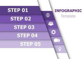 Infographic design template with 5 purple ribbons vector