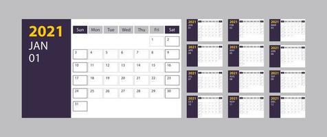 Calendar 2021 week start Sunday corporate design planner template on grey background vector