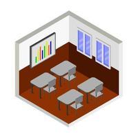 diseño de interiores de aula isométrica